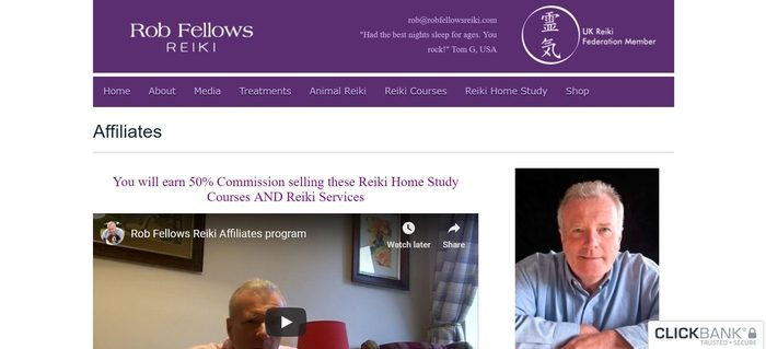screenshot of the affiliate sign up page for Rob Fellows Reiki