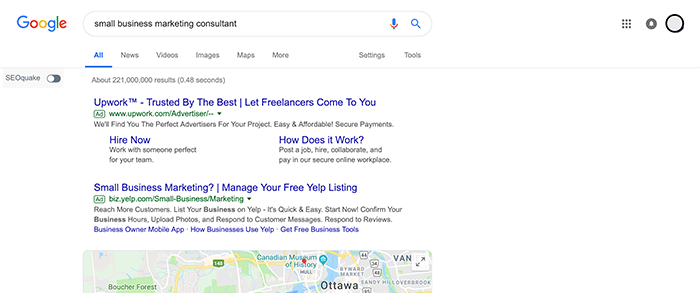 Logged in Google location and personalization test