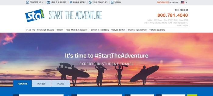 screenshot of the affiliate sign up page for STA Travel USA