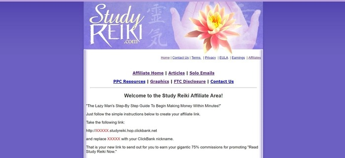 screenshot of the affiliate sign up page for Study Reiki