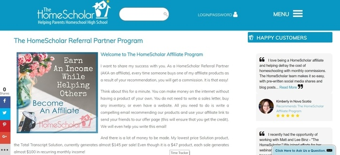 screenshot of the affiliate sign up page for The HomeScholar