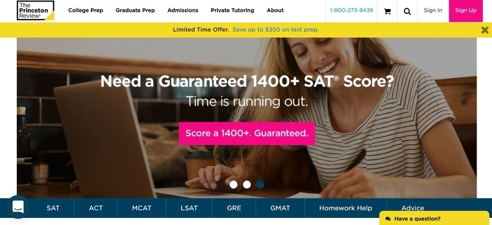 screenshot of the affiliate sign up page for The Princeton Review