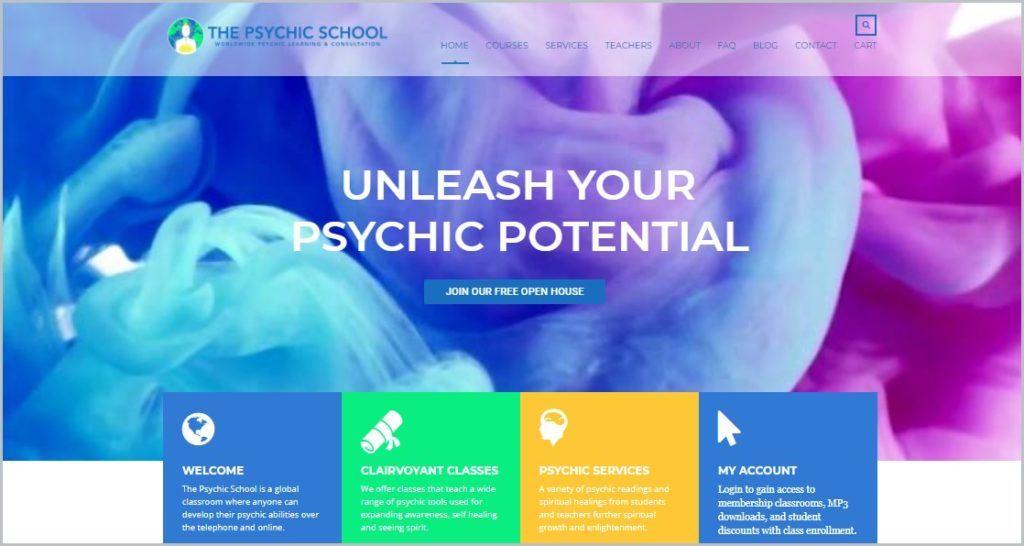 screenshot of The Psychic School homepage