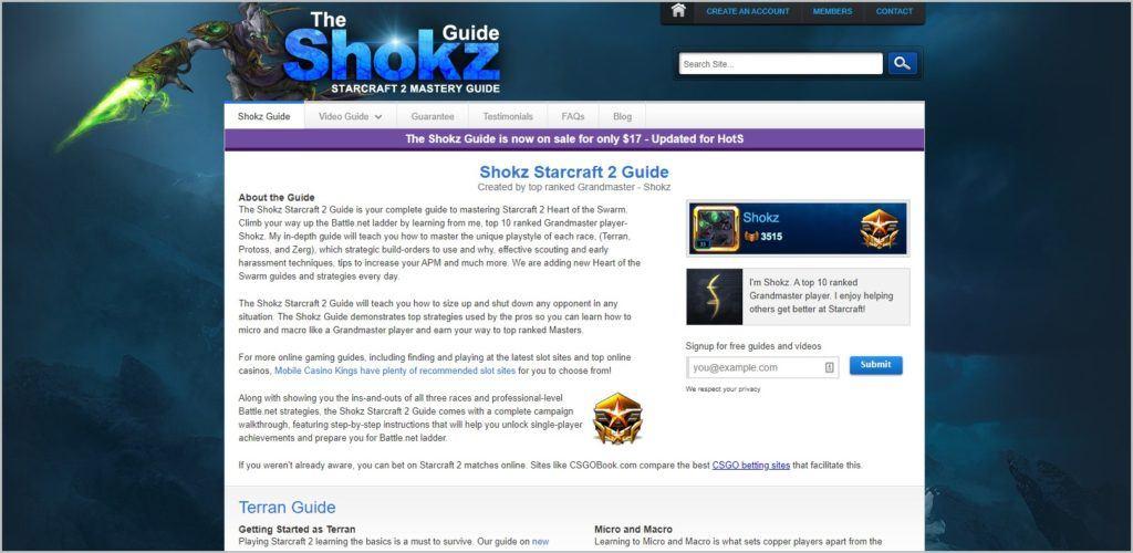 screenshot of The Shokz Starcraft 2 Guide homepage