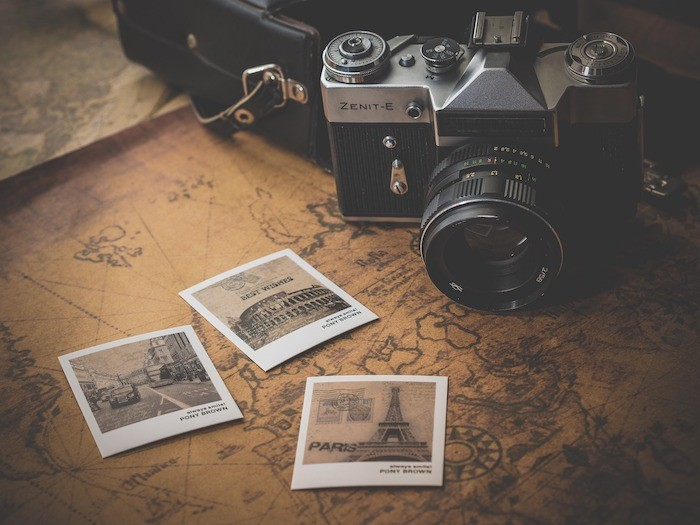 travel photos and old style camera