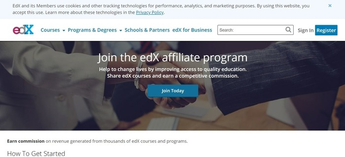 screenshot of the affiliate sign up page for edX