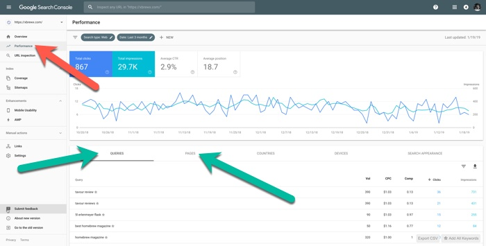 screenshot of google search console for xbrewx.com including ranked keywords