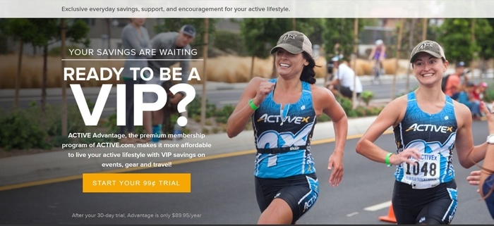 screenshot of the affiliate sign up page for Active Advantage