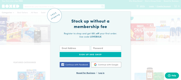 screenshot of the affiliate sign up page for Boxed