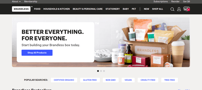 screenshot of the affiliate sign up page for Brandless