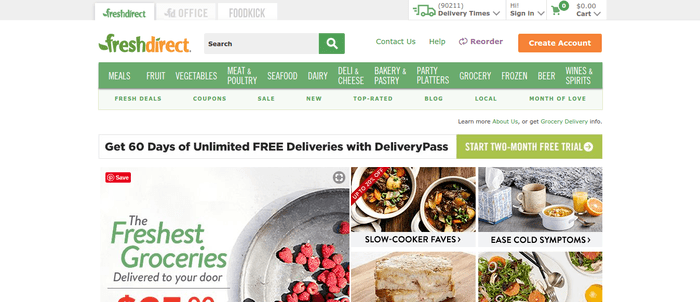 screenshot of the affiliate sign up page for FreshDirect