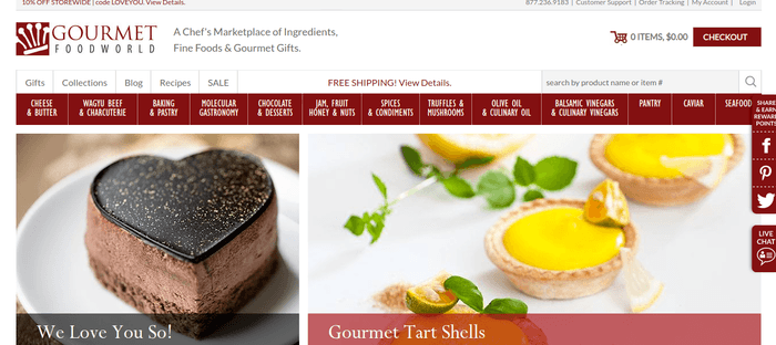 screenshot of the affiliate sign up page for Gourmet Food World