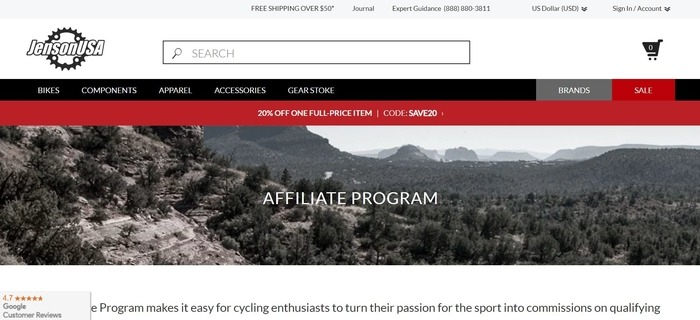 screenshot of the affiliate sign up page for Jenson USA