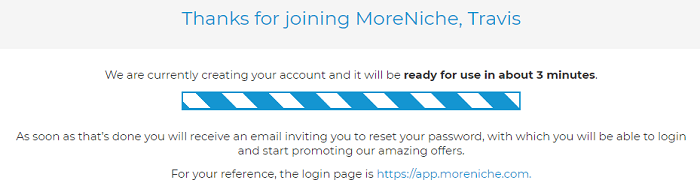 MoreNiche Signed Up