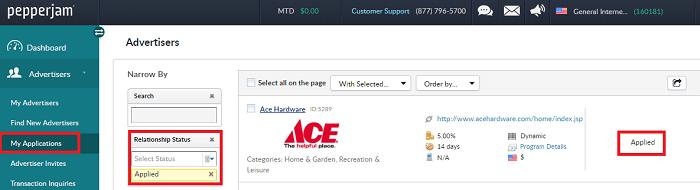 Pepperjam Affiliate Network Advertiser Status