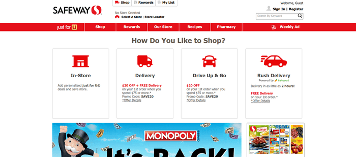 screenshot of the affiliate sign up page for Safeway.com