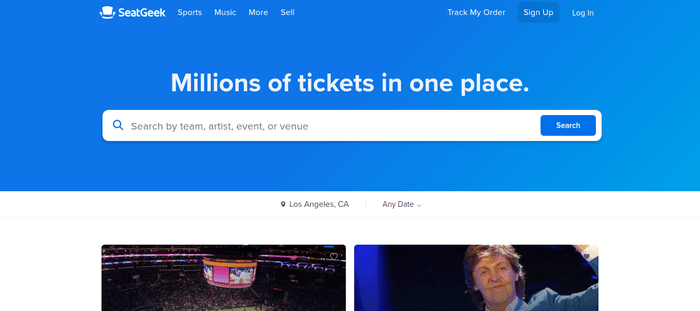 screenshot of the affiliate sign up page for SeatGeek