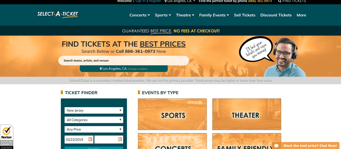 screenshot of the affiliate sign up page for SelectATicket