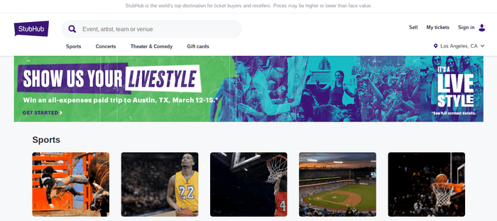 screenshot of the affiliate sign up page for StubHub