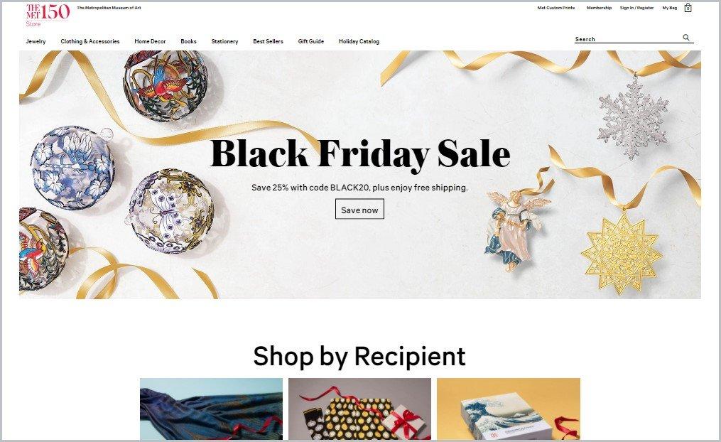 screenshot of The Met Store homepage