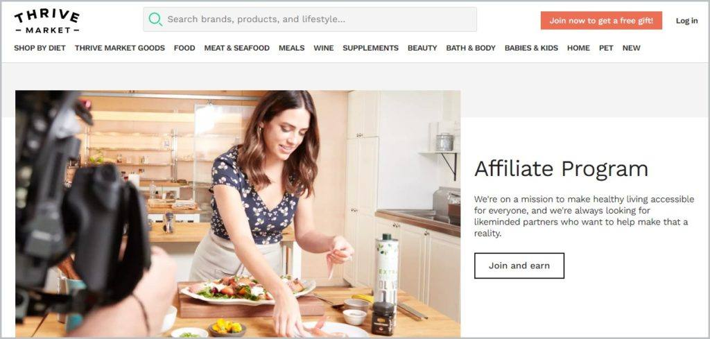 screenshot of Thrive Market's affiliate page