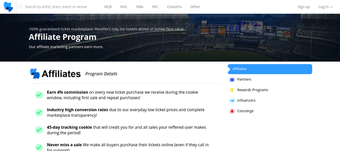 screenshot of the affiliate sign up page for TickPick