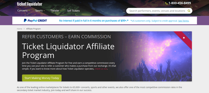 screenshot of the affiliate sign up page for Ticket Liquidator