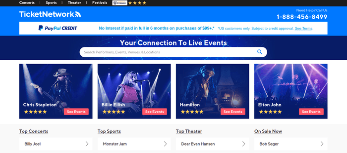 screenshot of the affiliate sign up page for TicketNetwork