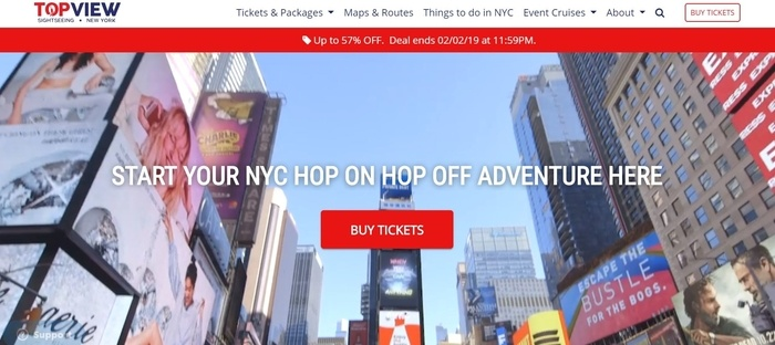 screenshot of the affiliate sign up page for TopView Sightseeing