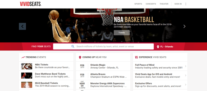screenshot of the affiliate sign up page for VividSeats