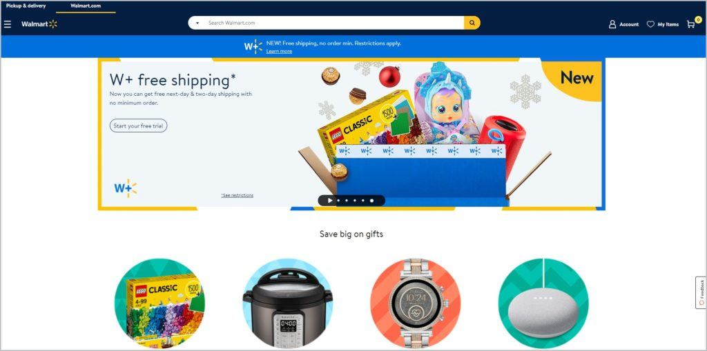 Screenshot of Walmart homepage showing blue banner with website name, and main navigation menu at the left side of the header, search tab at the center, and account, my items, and shopping cart icons at the left side header. Main image shows Walmart+ free shipping info, and images of products.
