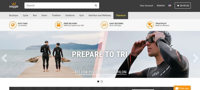 screenshot of the affiliate sign up page for Wiggle