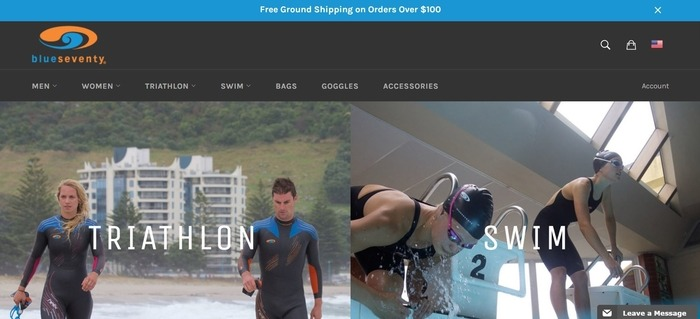 screenshot of the affiliate sign up page for blueseventy