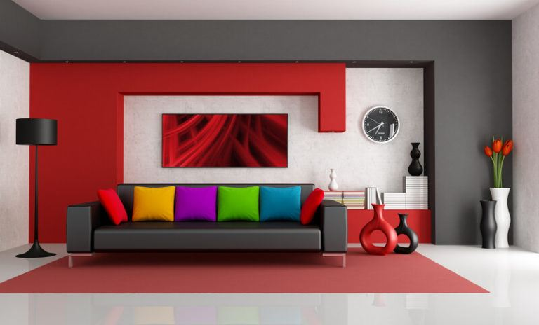 multi-colored contemporary room with modern couch representing how choosing an affiliate niche is similar to decorating a room