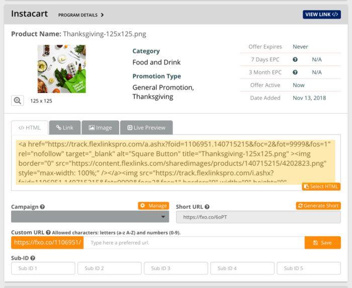 full html affiliate code