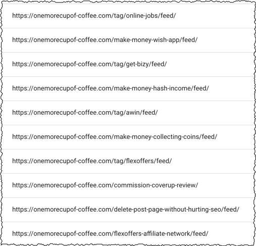 screenshot of blog feed URLs not indexed