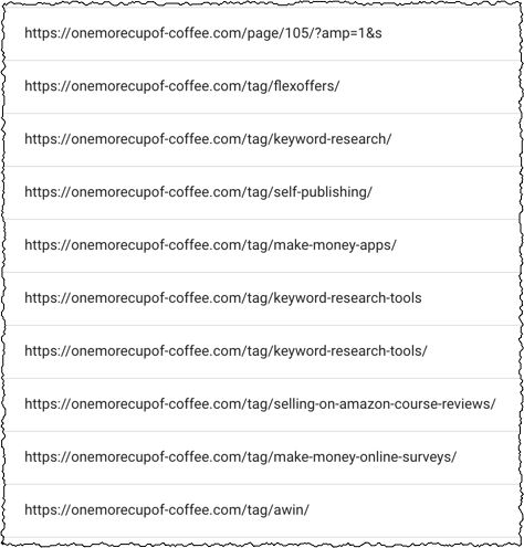 screenshot of tag pages that are not indexed in search console