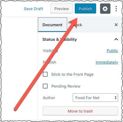 publish a wordpress article