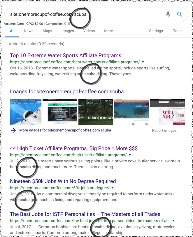 use google to search site for keywords