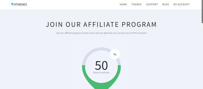screenshot of the affiliate sign up page for AThemes