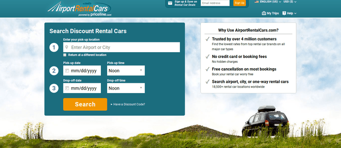 screenshot of the affiliate sign up page for AirportRentalCars.com