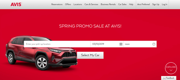 screenshot of the affiliate sign up page for Avis Car Rental