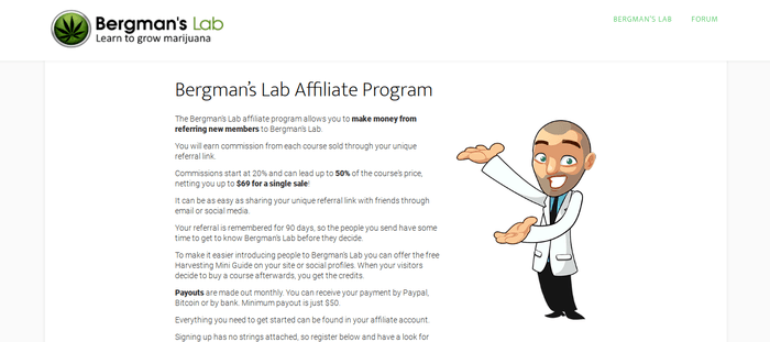 screenshot of the affiliate sign up page for Bergman's Lab