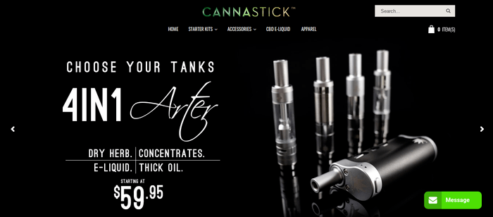 screenshot of the affiliate sign up page for Cannastick