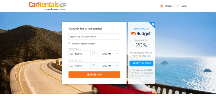 screenshot of the affiliate sign up page for CarRentals