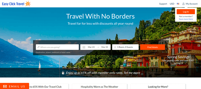 screenshot of the affiliate sign up page for Easy Click Travel