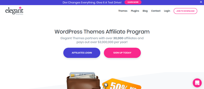 screenshot of the affiliate sign up page for Elegant Themes
