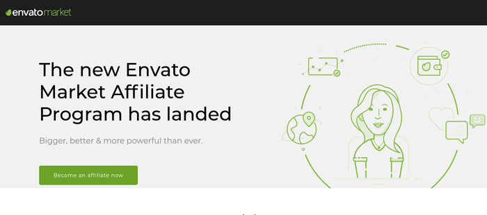 screenshot of the affiliate sign up page for Envato Market