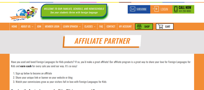 screenshot of the affiliate sign up page for Foreign Languages For Kids