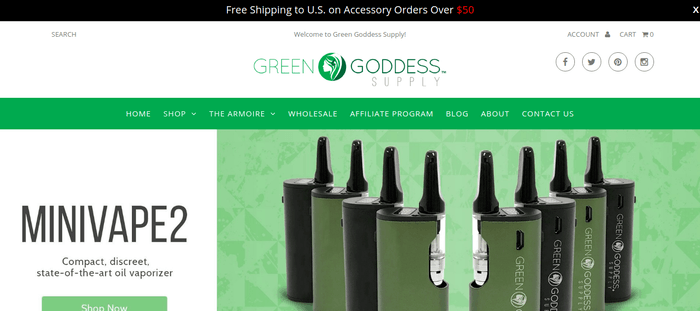 screenshot of the affiliate sign up page for Green Goddess Supply